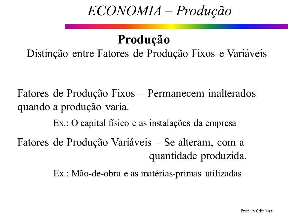 Prof. Ivaldir Vaz ECONOMIA – Produção 6 Produção Distinção entre Fatores de Produção Fixos e Variáveis Fatores de Produção Fixos – Permanecem inaltera