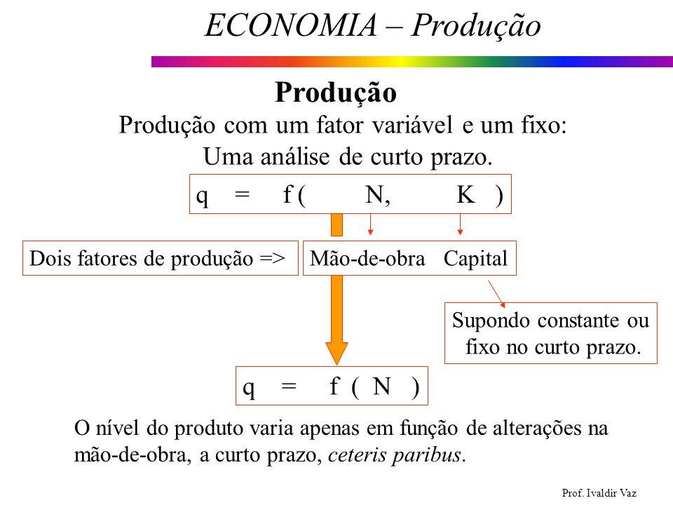 Prof. Ivaldir Vaz ECONOMIA – Produção 7 Produção Produção com um fator variável e um fixo: Uma análise de curto prazo. q = f ( N, K ) Dois fatores de