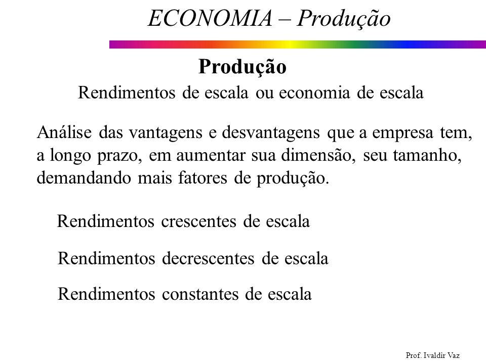 Prof. Ivaldir Vaz ECONOMIA – Produção 8 Produção Rendimentos de escala ou economia de escala Análise das vantagens e desvantagens que a empresa tem, a