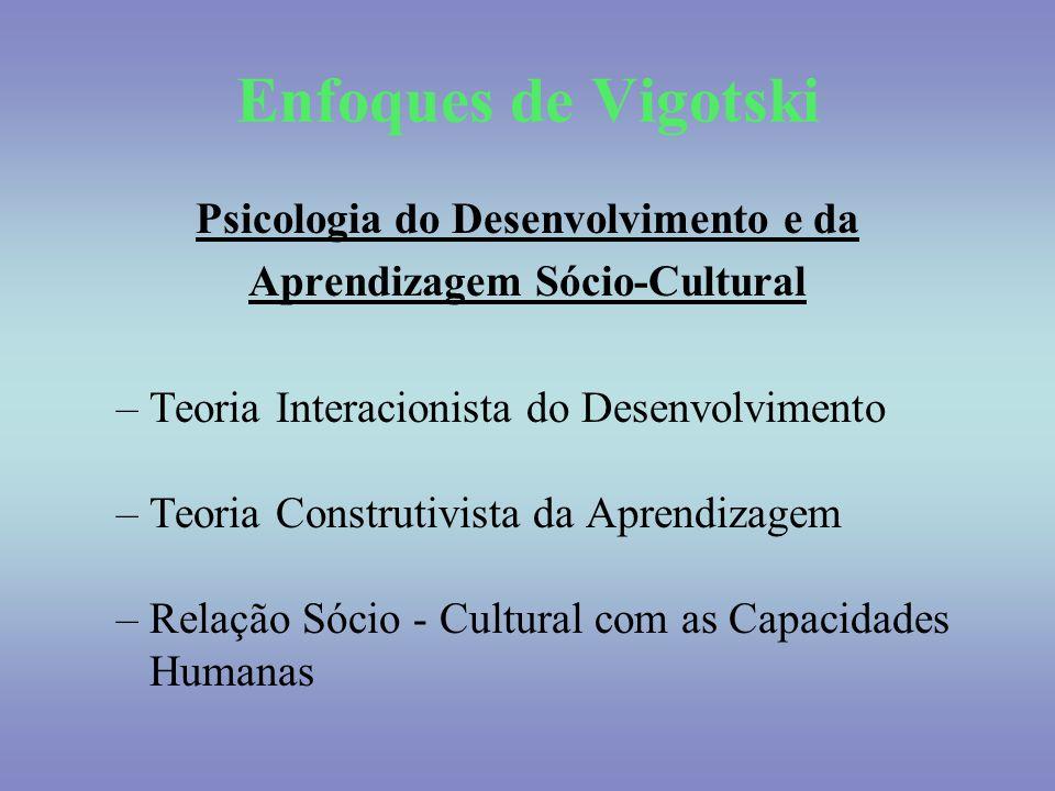 Enfoques de Vigotski Psicologia do Desenvolvimento e da Aprendizagem Sócio-Cultural –Teoria Interacionista do Desenvolvimento –Teoria Construtivista d