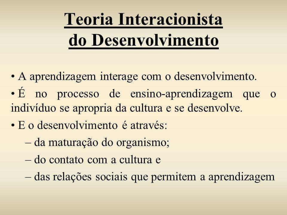 Teoria Interacionista do Desenvolvimento A aprendizagem interage com o desenvolvimento. É no processo de ensino-aprendizagem que o indivíduo se apropr