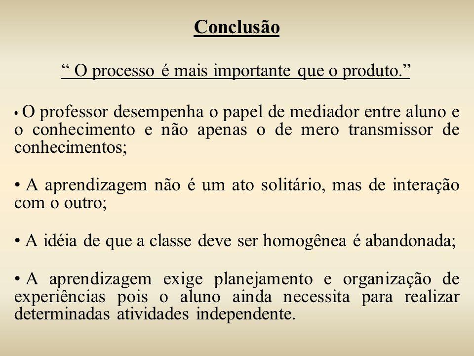 Conclusão O processo é mais importante que o produto. O professor desempenha o papel de mediador entre aluno e o conhecimento e não apenas o de mero t