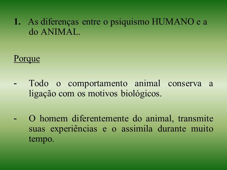 1. As diferenças entre o psiquismo HUMANO e a do ANIMAL. Porque - Todo o comportamento animal conserva a ligação com os motivos biológicos. - O homem