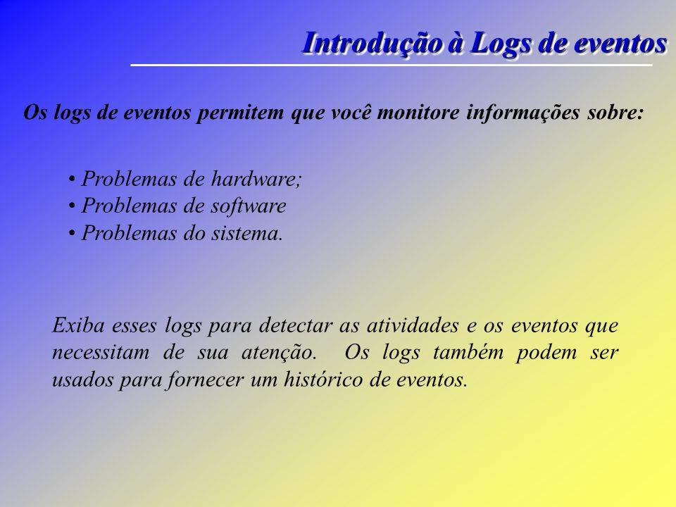 Os logs de eventos permitem que você monitore informações sobre: Exiba esses logs para detectar as atividades e os eventos que necessitam de sua atenção.