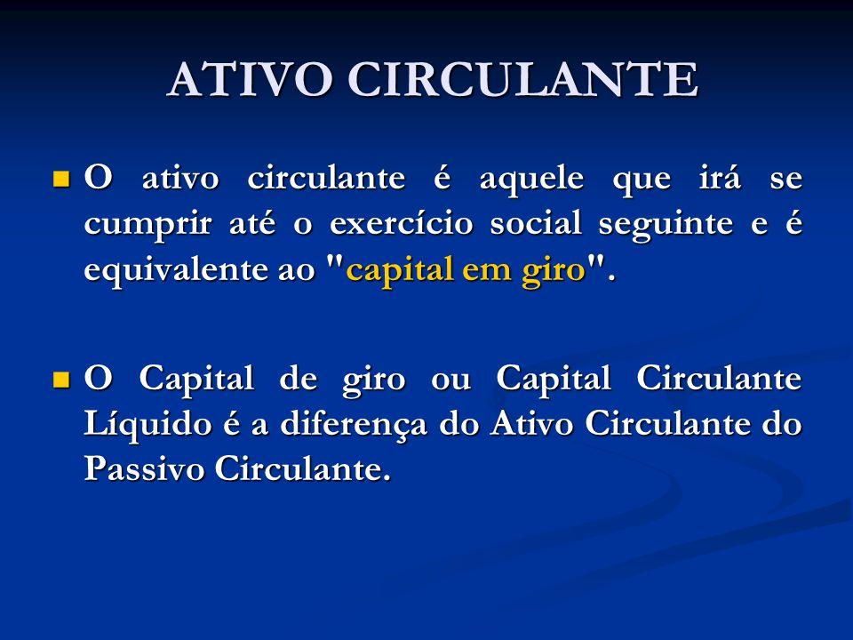 ATIVO CIRCULANTE ATIVO CIRCULANTE O ativo circulante é aquele que irá se cumprir até o exercício social seguinte e é equivalente ao