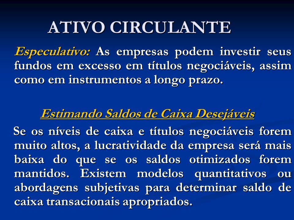 ATIVO CIRCULANTE O Nível de Investimento em Títulos Negociáveis Além de obter um saldo positivo para os recursos temporariamente parados, o portfólio de títulos negociáveis serve como reserva de segurança de caixa que pode ser utilizada para satisfazer demandas inesperadas por fundos.
