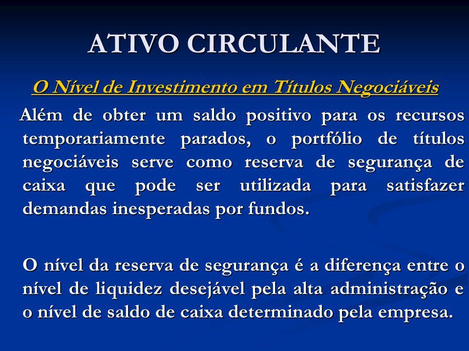 ATIVO CIRCULANTE O Nível de Investimento em Títulos Negociáveis Além de obter um saldo positivo para os recursos temporariamente parados, o portfólio