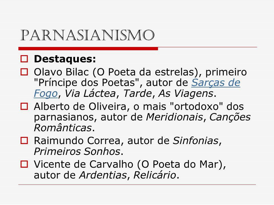 PARNASIANISMO Destaques: Olavo Bilac (O Poeta da estrelas), primeiro