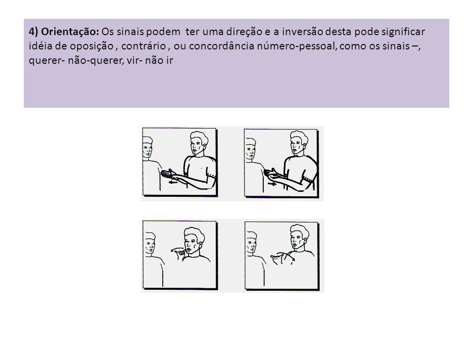 4) Orientação: Os sinais podem ter uma direção e a inversão desta pode significar idéia de oposição, contrário, ou concordância número-pessoal, como o