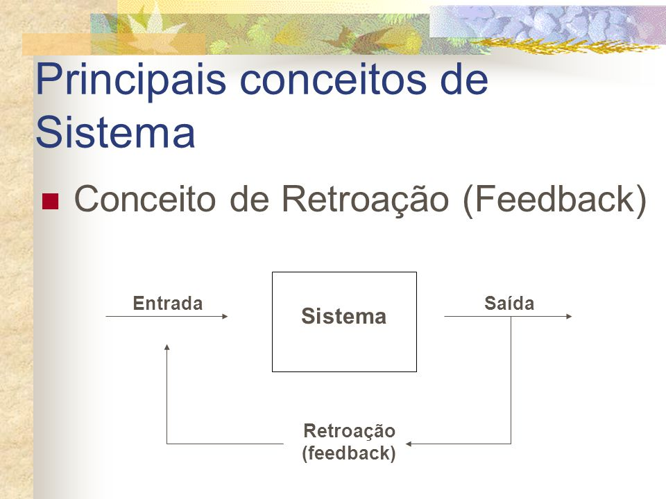 Principais conceitos de Sistema Sistema EntradaSaída Conceito de Retroação (Feedback) Retroação (feedback)