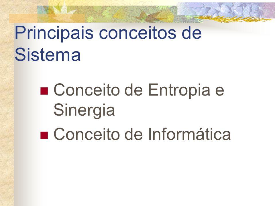 Principais conceitos de Sistema Conceito de Entropia e Sinergia Conceito de Informática