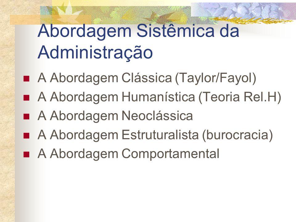 Abordagem Sistêmica da Administração A Abordagem Clássica (Taylor/Fayol) A Abordagem Humanística (Teoria Rel.H) A Abordagem Neoclássica A Abordagem Es