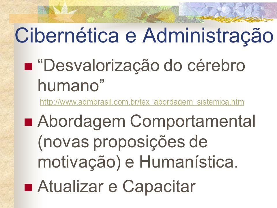 Cibernética e Administração Desvalorização do cérebro humano http://www.admbrasil.com.br/tex_abordagem_sistemica.htm Abordagem Comportamental (novas p