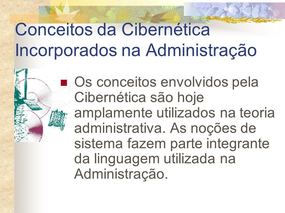 Conceitos da Cibernética Incorporados na Administração Os conceitos envolvidos pela Cibernética são hoje amplamente utilizados na teoria administrativ