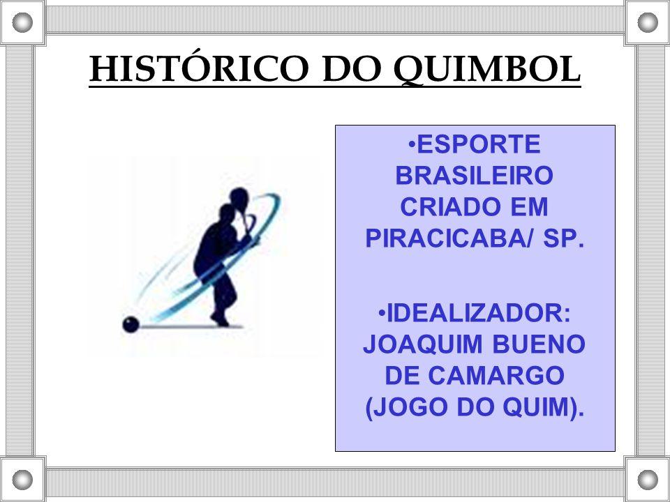 HISTÓRICO DO QUIMBOL ESPORTE BRASILEIRO CRIADO EM PIRACICABA/ SP. IDEALIZADOR: JOAQUIM BUENO DE CAMARGO (JOGO DO QUIM).