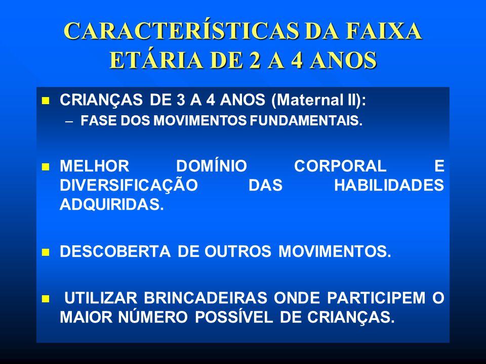 CARACTERÍSTICAS DA FAIXA ETÁRIA DE 2 A 4 ANOS CRIANÇAS DE 3 A 4 ANOS (Maternal II): – –FASE DOS MOVIMENTOS FUNDAMENTAIS. MELHOR DOMÍNIO CORPORAL E DIV