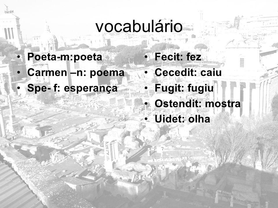 vocabulário Poeta-m:poeta Carmen –n: poema Spe- f: esperança Fecit: fez Cecedit: caiu Fugit: fugiu Ostendit: mostra Uidet: olha