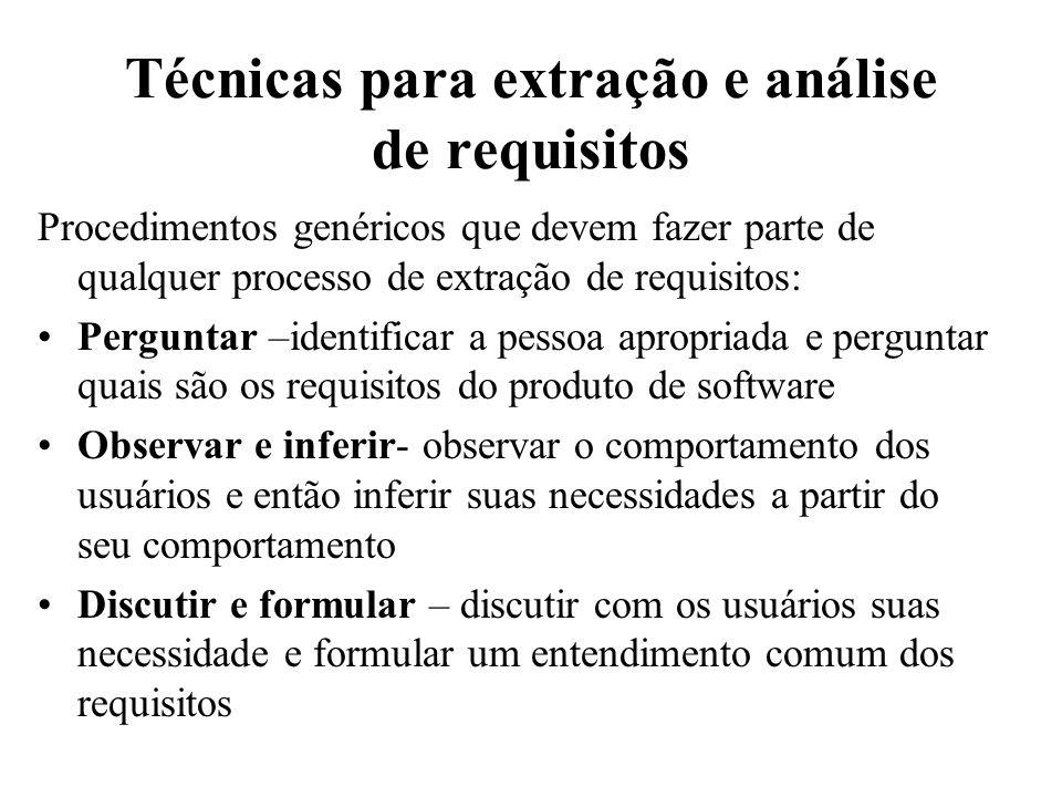 Técnicas para extração e análise de requisitos Procedimentos genéricos que devem fazer parte de qualquer processo de extração de requisitos: Perguntar