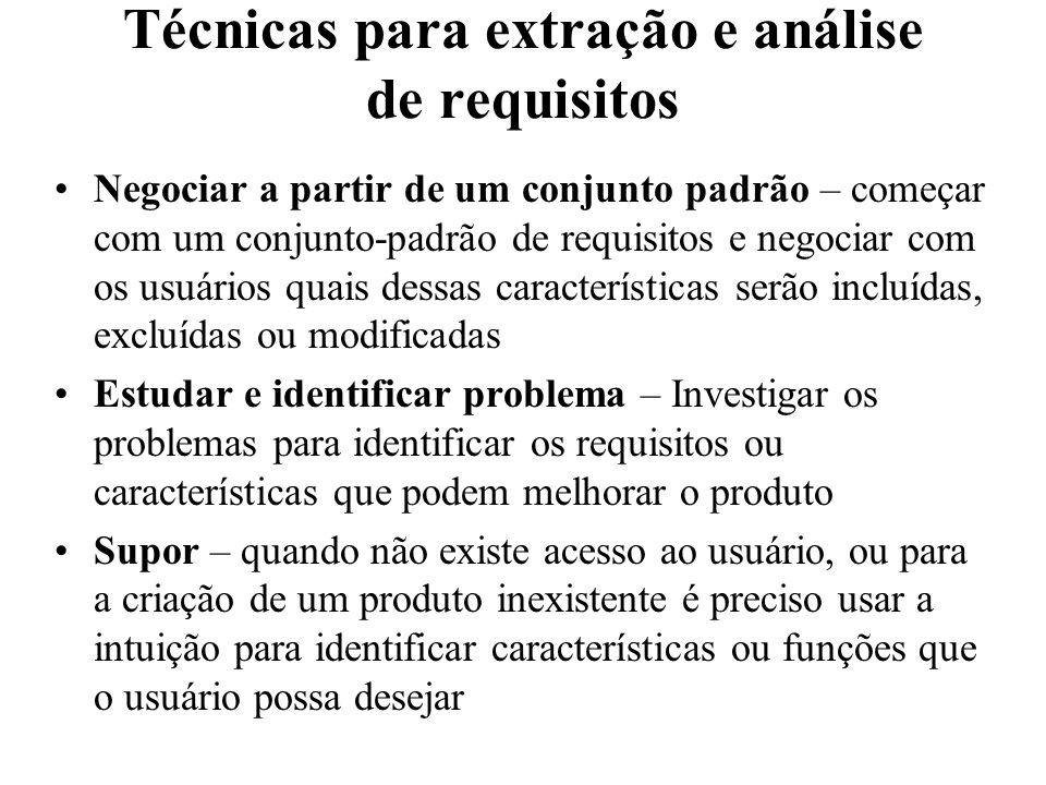 Técnicas para extração e análise de requisitos Negociar a partir de um conjunto padrão – começar com um conjunto-padrão de requisitos e negociar com o