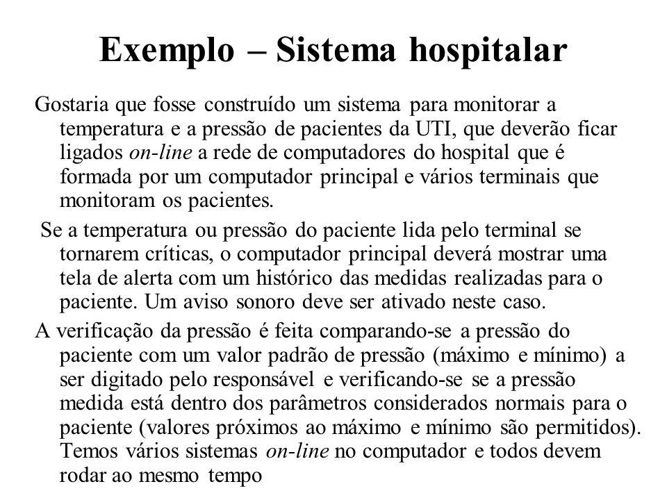 Exemplo – Sistema hospitalar Gostaria que fosse construído um sistema para monitorar a temperatura e a pressão de pacientes da UTI, que deverão ficar
