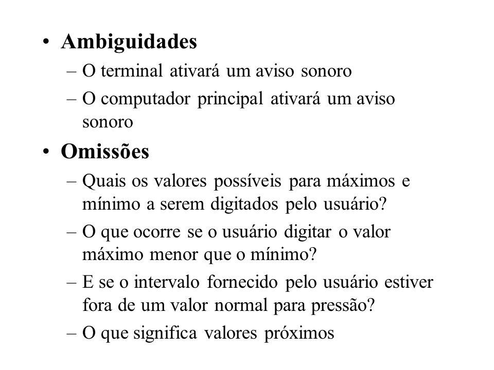 Ambiguidades –O terminal ativará um aviso sonoro –O computador principal ativará um aviso sonoro Omissões –Quais os valores possíveis para máximos e m