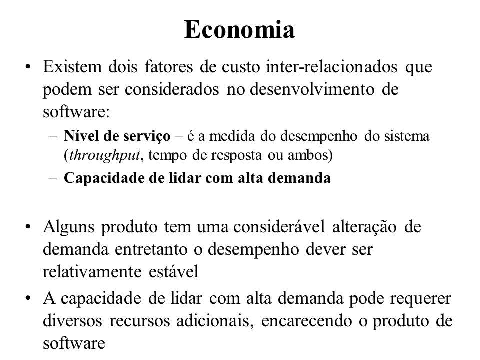 Economia Existem dois fatores de custo inter-relacionados que podem ser considerados no desenvolvimento de software: –Nível de serviço – é a medida do