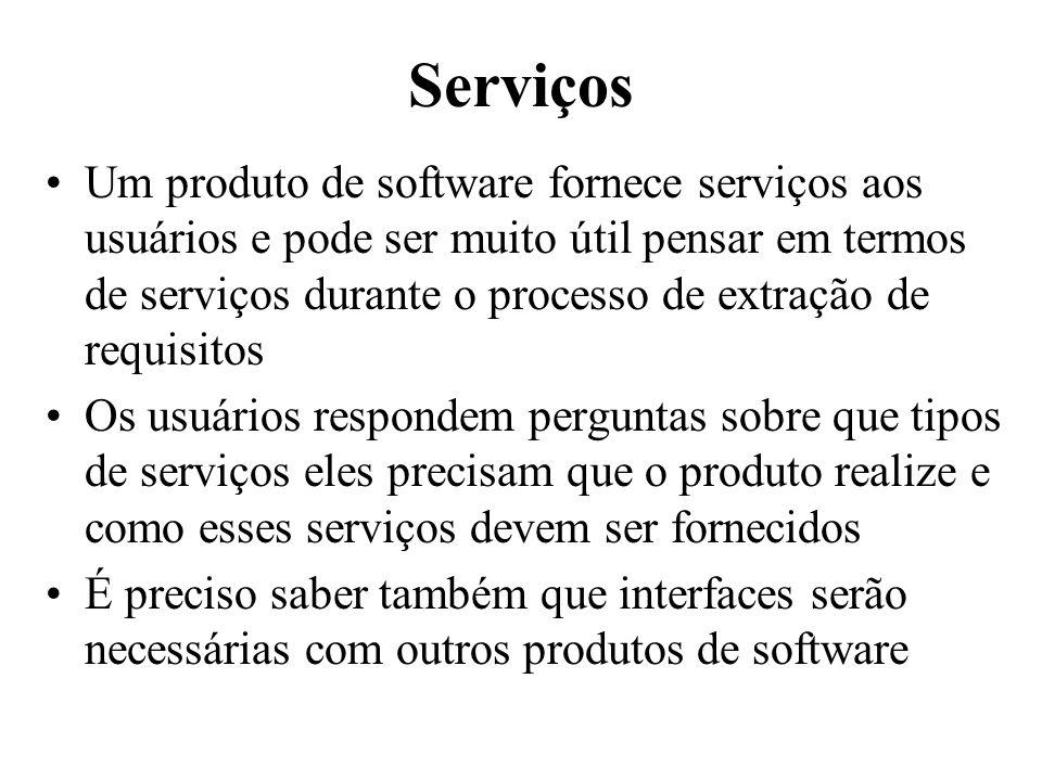 Serviços Um produto de software fornece serviços aos usuários e pode ser muito útil pensar em termos de serviços durante o processo de extração de req