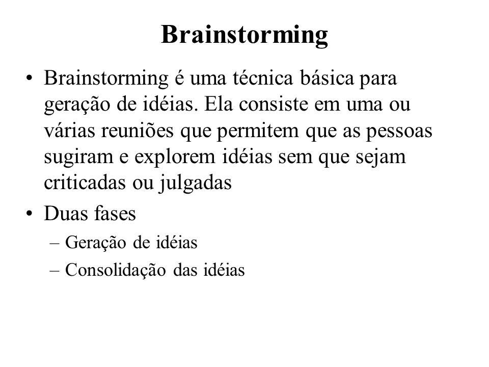 Brainstorming Brainstorming é uma técnica básica para geração de idéias. Ela consiste em uma ou várias reuniões que permitem que as pessoas sugiram e