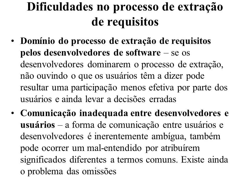 Dificuldades no processo de extração de requisitos Domínio do processo de extração de requisitos pelos desenvolvedores de software – se os desenvolved