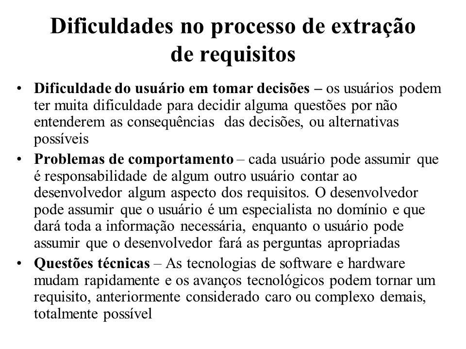 Dificuldades no processo de extração de requisitos Dificuldade do usuário em tomar decisões – os usuários podem ter muita dificuldade para decidir alg