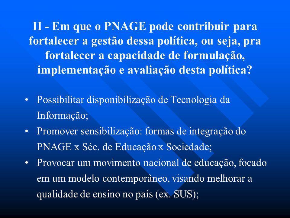 II - Em que o PNAGE pode contribuir para fortalecer a gestão dessa política, ou seja, pra fortalecer a capacidade de formulação, implementação e avali
