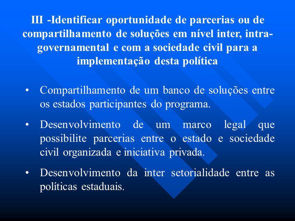 III -Identificar oportunidade de parcerias ou de compartilhamento de soluções em nível inter, intra- governamental e com a sociedade civil para a impl