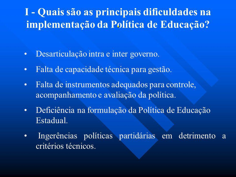 I - Quais são as principais dificuldades na implementação da Política de Educação? Desarticulação intra e inter governo. Falta de capacidade técnica p