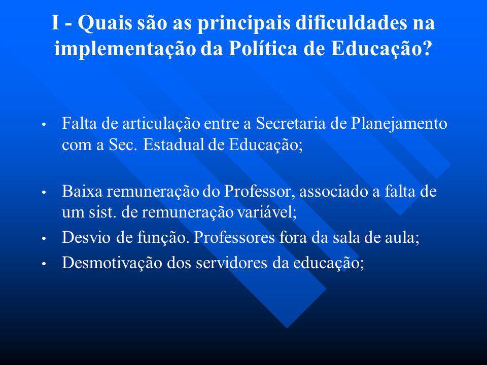 I - Quais são as principais dificuldades na implementação da Política de Educação? Falta de articulação entre a Secretaria de Planejamento com a Sec.