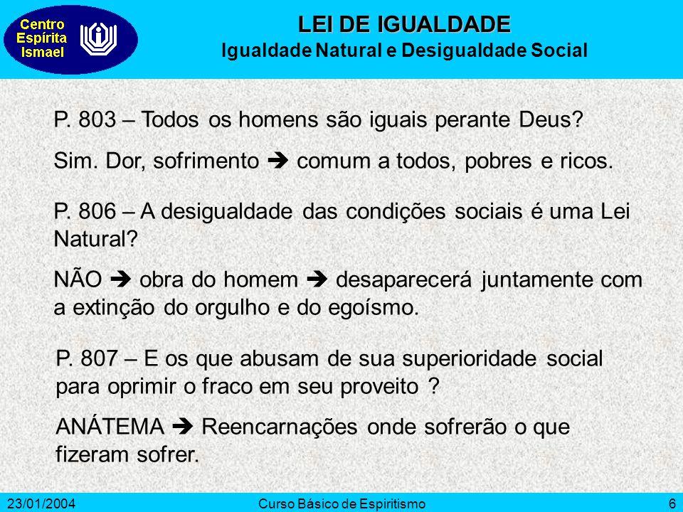 23/01/2004Curso Básico de Espiritismo7 (14,8%) (8%) (66%) (11,2%) População Mundial – em % Alto Extremo Mínimo Moderado Fonte: Population Crisis Committee, publicado no Estado de São Paulo, 18/05/92 LEI DE IGUALDADE Índice Mundial de Sofrimento Humano
