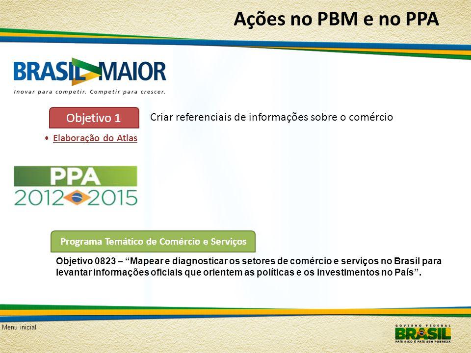 Menu inicial Ações no PBM e no PPA Criar referenciais de informações sobre o comércio Objetivo 1 Elaboração do Atlas Programa Temático de Comércio e S