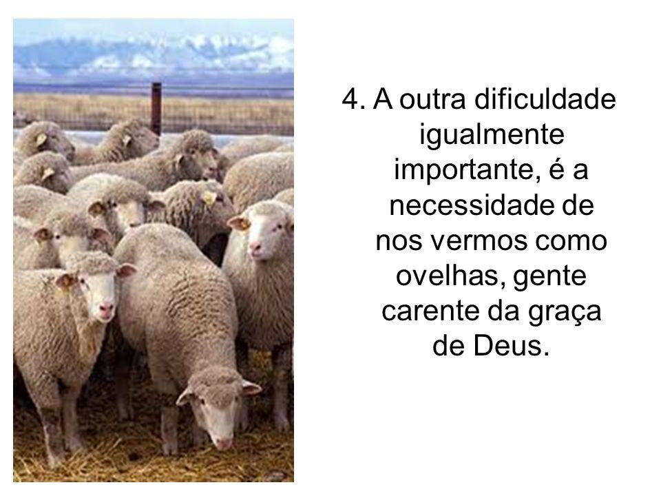 4. A outra dificuldade igualmente importante, é a necessidade de nos vermos como ovelhas, gente carente da graça de Deus.