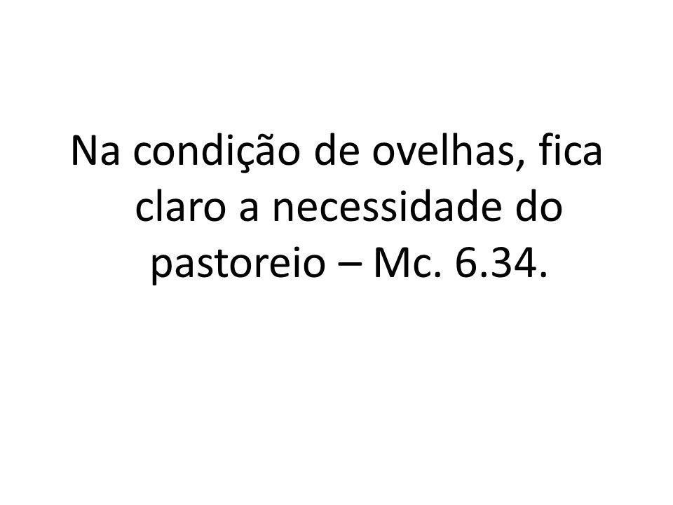 Na condição de ovelhas, fica claro a necessidade do pastoreio – Mc. 6.34.