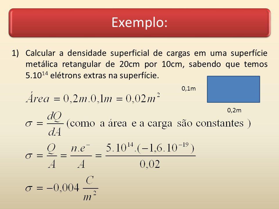 Exemplo: 2) Calcular a densidade superficial de cargas em uma superfície metálica esférica de uma esfera de 15cm de raio, sabendo que temos 800.10 14 elétrons faltando na superfície.