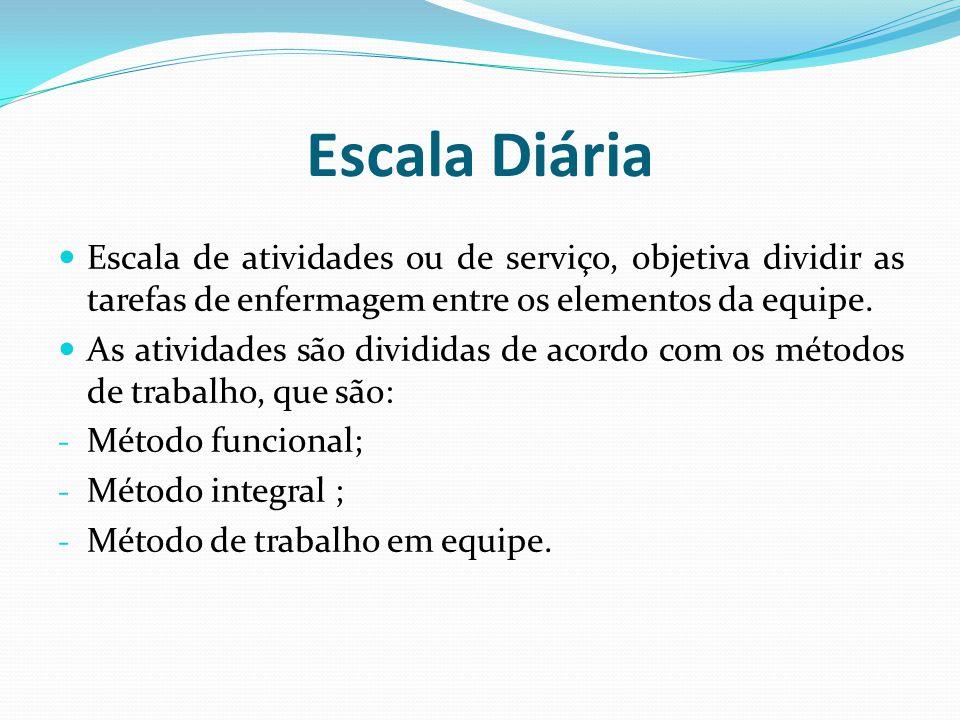 Escala Diária Escala de atividades ou de serviço, objetiva dividir as tarefas de enfermagem entre os elementos da equipe.