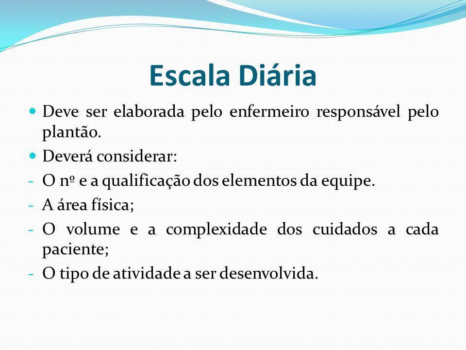 Escala Diária Deve ser elaborada pelo enfermeiro responsável pelo plantão.