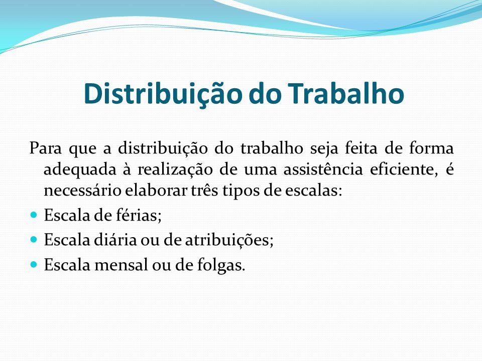 Distribuição do Trabalho Para que a distribuição do trabalho seja feita de forma adequada à realização de uma assistência eficiente, é necessário elaborar três tipos de escalas: Escala de férias; Escala diária ou de atribuições; Escala mensal ou de folgas.