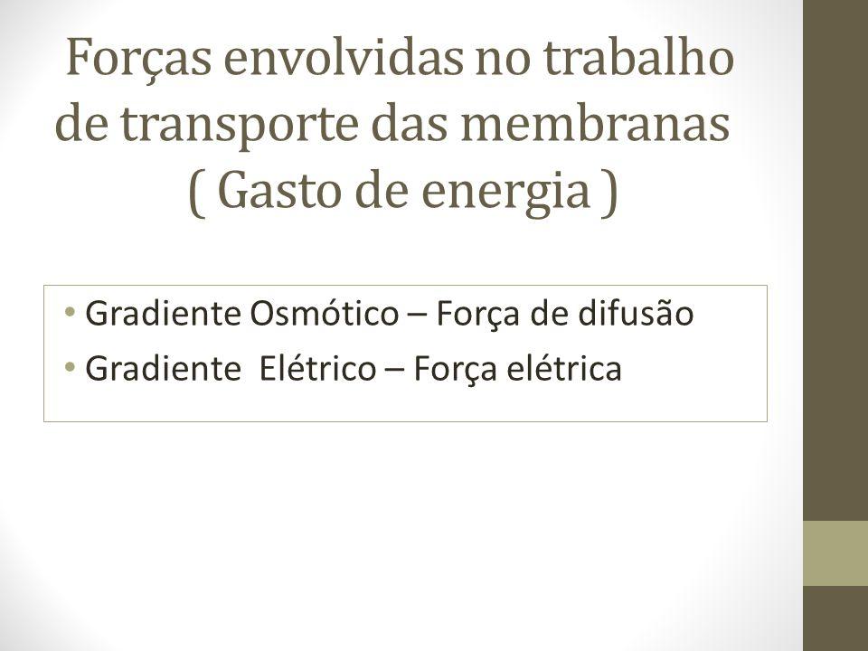 Forças envolvidas no trabalho de transporte das membranas ( Gasto de energia ) Gradiente Osmótico – Força de difusão Gradiente Elétrico – Força elétrica