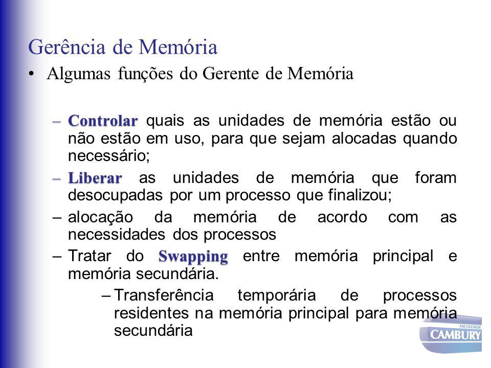 Gerência de Memória Algumas funções do Gerente de Memória –Controlar –Controlar quais as unidades de memória estão ou não estão em uso, para que sejam