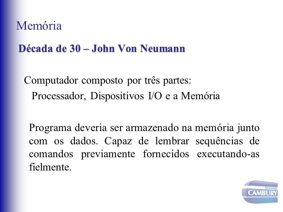 Memória Décadade 30 – John Von Neumann Década de 30 – John Von Neumann Computador composto por três partes: Processador, Dispositivos I/O e a Memória