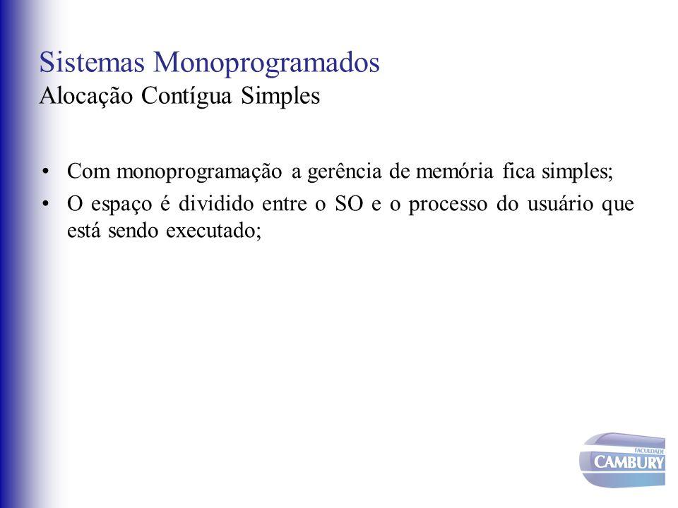 Sistemas Monoprogramados Alocação Contígua Simples Com monoprogramação a gerência de memória fica simples; O espaço é dividido entre o SO e o processo