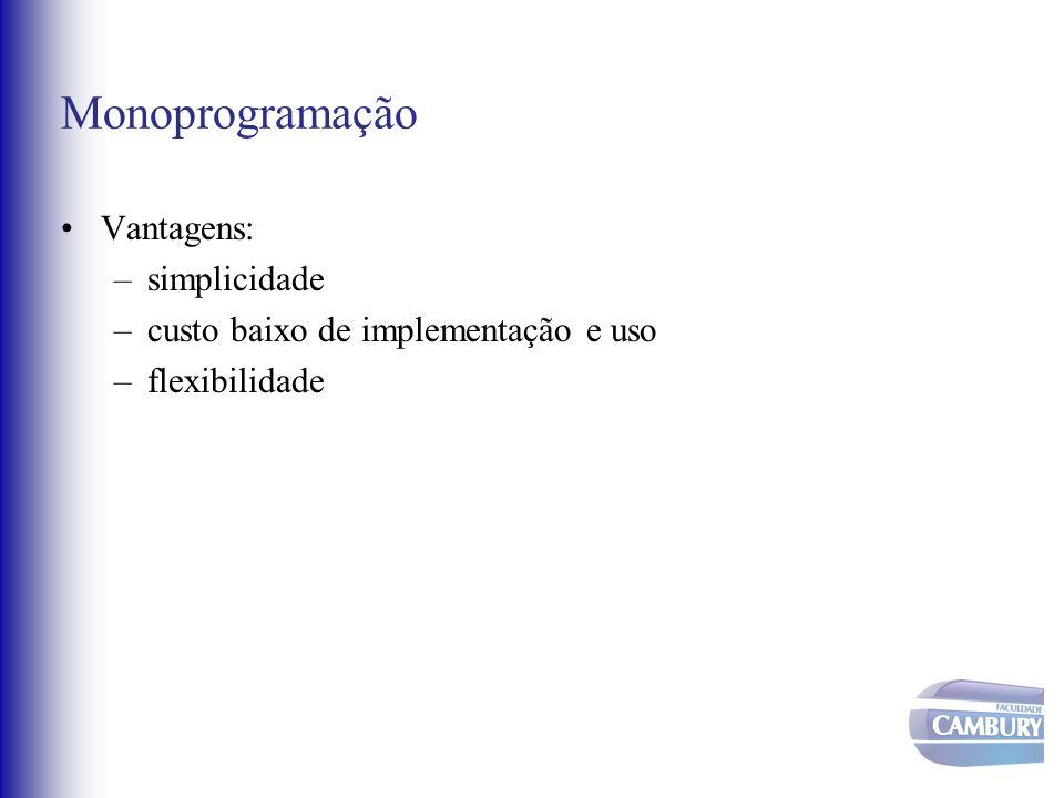 Monoprogramação Vantagens: –simplicidade –custo baixo de implementação e uso –flexibilidade