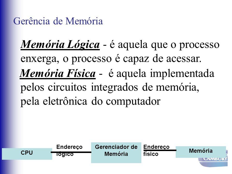 Gerência de Memória Memória Lógica - é aquela que o processo enxerga, o processo é capaz de acessar. Memória Física - é aquela implementada pelos circ