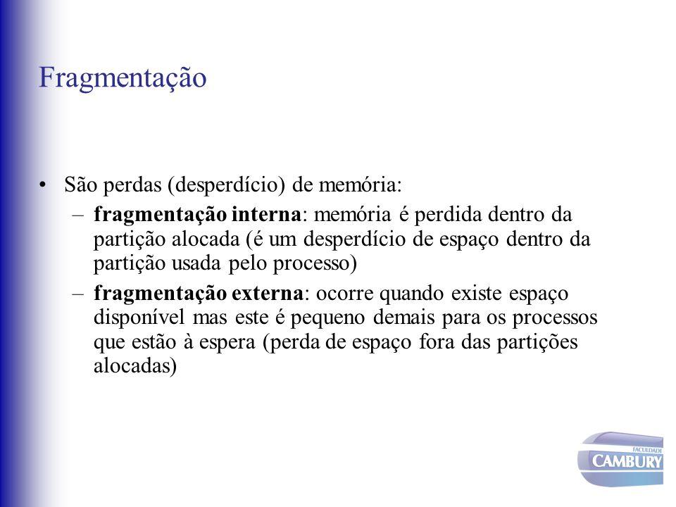 Fragmentação São perdas (desperdício) de memória: –fragmentação interna: memória é perdida dentro da partição alocada (é um desperdício de espaço dent