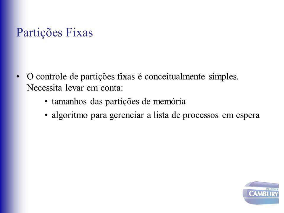 Partições Fixas O controle de partições fixas é conceitualmente simples. Necessita levar em conta: tamanhos das partições de memória algoritmo para ge